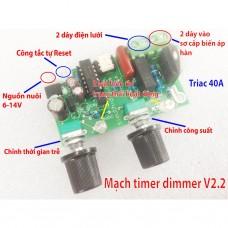Mạch timer dimmer máy hàn điểm, hàn cell pin 2 núm vặn chỉnh thời gian, công suất V2.2